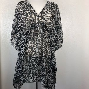 H&M | Cheetah Animal Wrap Cover Up Tunic Dress Top